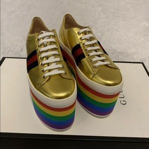 NEW Gucci Metallic Gold Rainbow Platform Shoes 8.5